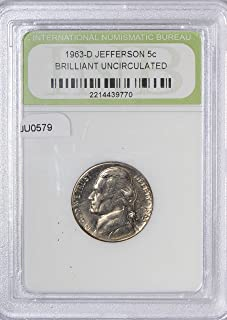 1963 IE JU0579 US Nickel D Jefferson Brilliant Uncirculated DE PO-01