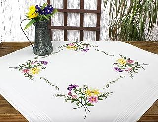 Kamaca Stickpackung Blumen - Feuerwerk Stielstich Plattstich vorgezeichnet aus 100% Baumwolle Stickset mit Stickvorlage Mitteldecke 80x80 cm