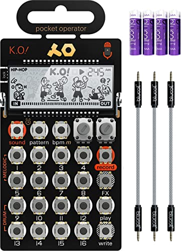 """lowest Teenage Engineering PO-33 sale Pocket Operator KO Sampler/Sequencer Bundle with Blucoil 3-Pack of wholesale 7"""" Audio Aux Cables, and 4 AAA Batteries outlet sale"""