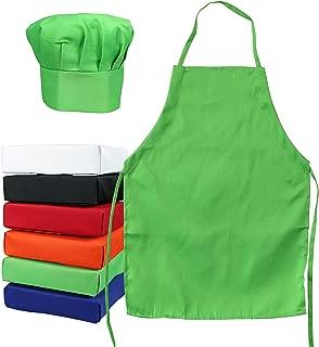 Kids Chef Hat Apron - Kitchen Cooking Baking Wear (M 6-12 Year, Green Bean)