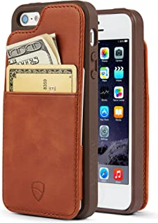 Vaultskin Eton Armour iPhone case with Leather Wallet (Cognac, iPhone SE)