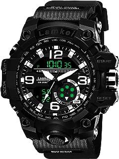Lamkei Army Black Analouge Digital Black Silicon Strap Sport Watch for Men- CB-1034