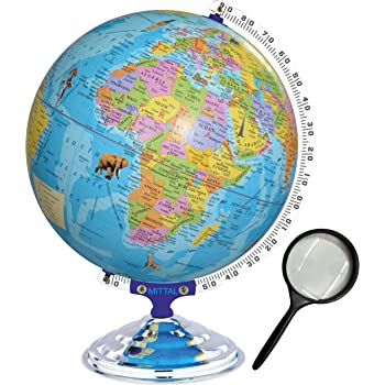 MITTAL Brand (Globe Shoppe) Educational Political Laminated 12 Inches Globe with Monuments with Heavy Metal Arc and Base / World Globe