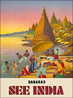 A SLICE IN TIME Banaras See India Southeast Asia Asian Vintage Travel Advertisement Art Poster Print. Measures 10 x 13.5 inches