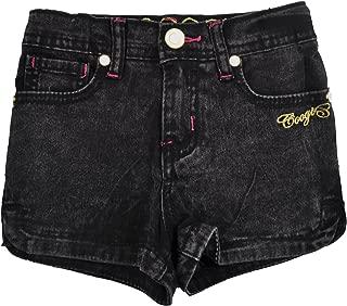 Toddler Girls Black Acid Jean Shorts