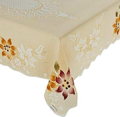 Amazon Brand - Solimo Cotton Blend Table Cover for Centre Table and 4 Seater Dining Table (Blossom, Cream)