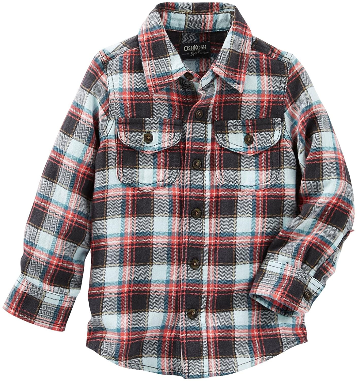 OshKosh B ' gosh Boys Woven Buttonfront、格子柄、5t