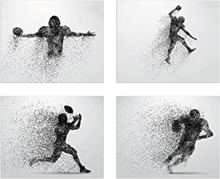 Summit Designs Football Wall Decor Art Prints - Particle Silhouette – Set of 4 (8x10) Poster Photos - Man Cave, Bedroom Decor