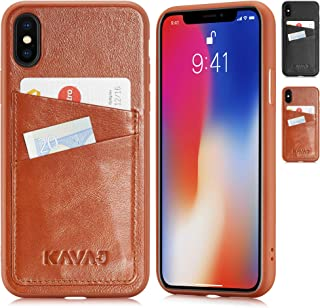 KAVAJ iPhone X/XS Case Leather Tokyo Cognac-Brown, Supports Wireless Charging (Qi), Slim-Fit Genuine Leather iPhone X Wallet Case Leather Bumper Case with Business Card Holder Cover