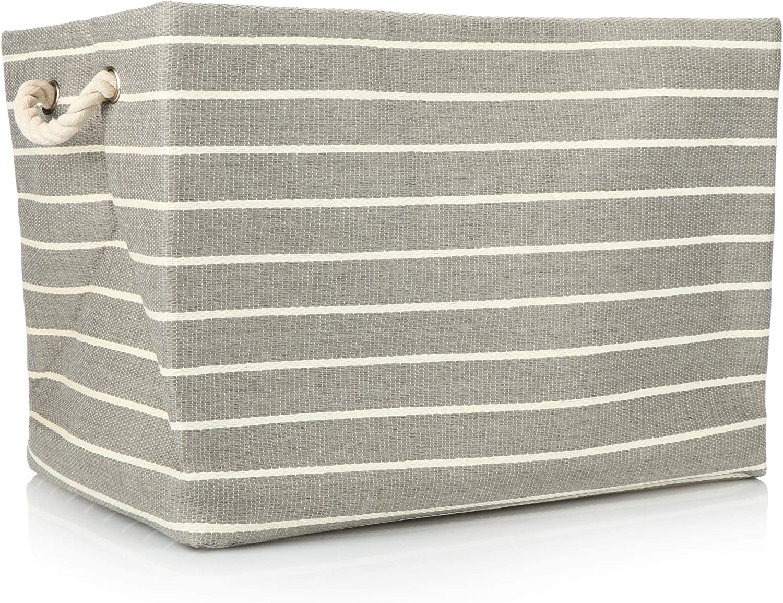 com-four® Cesta de Almacenamiento a Rayas - Caja de Almacenamiento Grande sin Tapa con Asas Laterales Resistentes