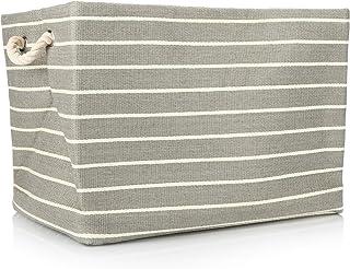 com-four® Panier de Rangement à Rayures pour couvertures, oreillers, Linge et Jouets - Grande boîte de Rangement sans Couv...