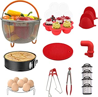 Sericea Instant Pot Accessories 14Pcs Set, Steamer Basket, Cheat Sheet Magnets, Mitts, Kitchen Tongs, Silicone Mat, Spring Form Pan, Egg Rack, Compatible with 5,6,8Qt Instant Pots and Pressure Cookers