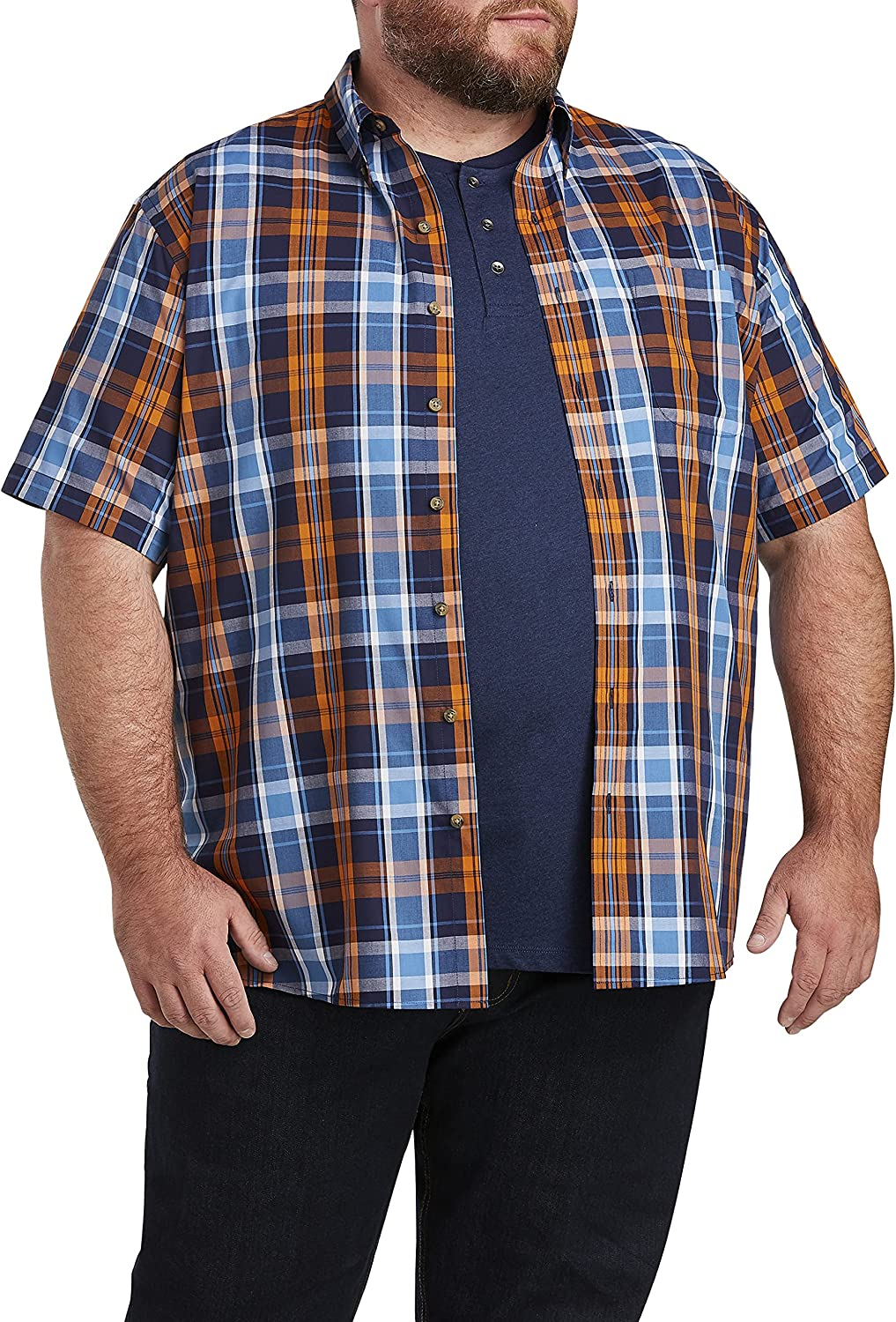 Harbor Bay by DXL Big and Tall Easy-Care Large Plaid Sport Shirt, Blue/Orange