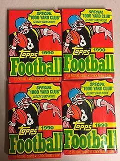 Topps Unopened 4 Pack Bundle - Lot 1990 NFL Trading Cards 15 Cards Per Pack (60 Cards Total) Vintage