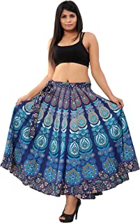 "Handicraft-Palace"" Blue Peacock Mandala Printed Wrap Around Skirts Sarong Magic Wraparound Dress Women's Beach Dress Westran wear for Woman's/Girl's"