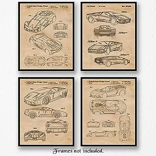 Original Lamborghini Diablo, Aventador, Murcielago, Millennio Patent Poster Prints, Set of 4 (8x10) Unframed Photos, Great Wall Art Decor Gifts Under 20 for Home, Office, Man Cave, Cars & Coffee Fan