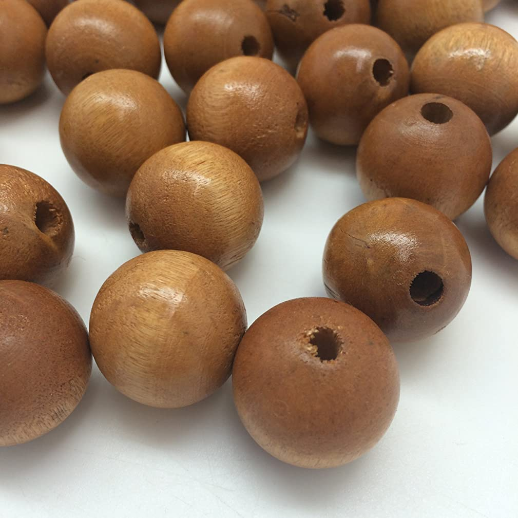 PEPPERLONELY Brand 50PC (apprx 200Gram) Light Coffee Dyed Round Wood Beads 24mm-25mm