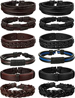 YADOCA 12Pcs Braided Leather Bracelet for Men Women Cuff Wrap Bracelet Adjustable Black and Brown