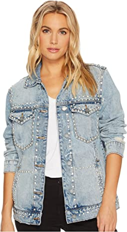 Embellished Denim Jacket in City Skyline