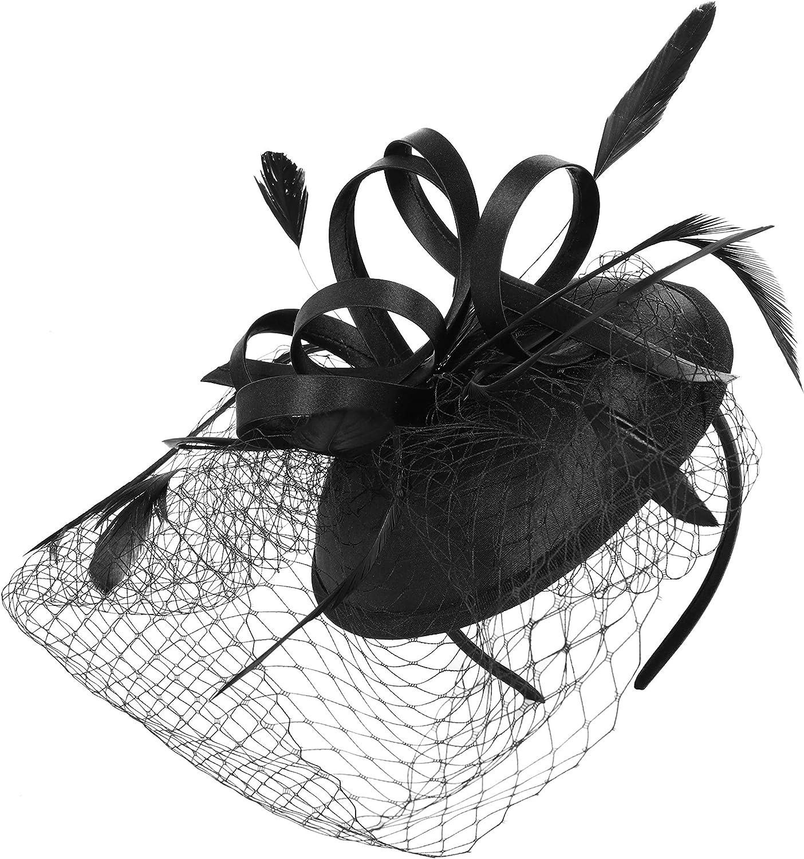 BABEYOND Tea Party Fascinator Hat Veil Kentucky Derby Fascinator Headband Pillbox Fascinators Hat for Cocktail