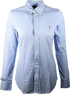 Polo Ralph Lauren Womens Knit Oxford Shirt (Large, Blue)