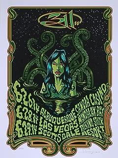 311 Concert Poster Justin Hampton S/N Southwest Tour 2014 Green Variant