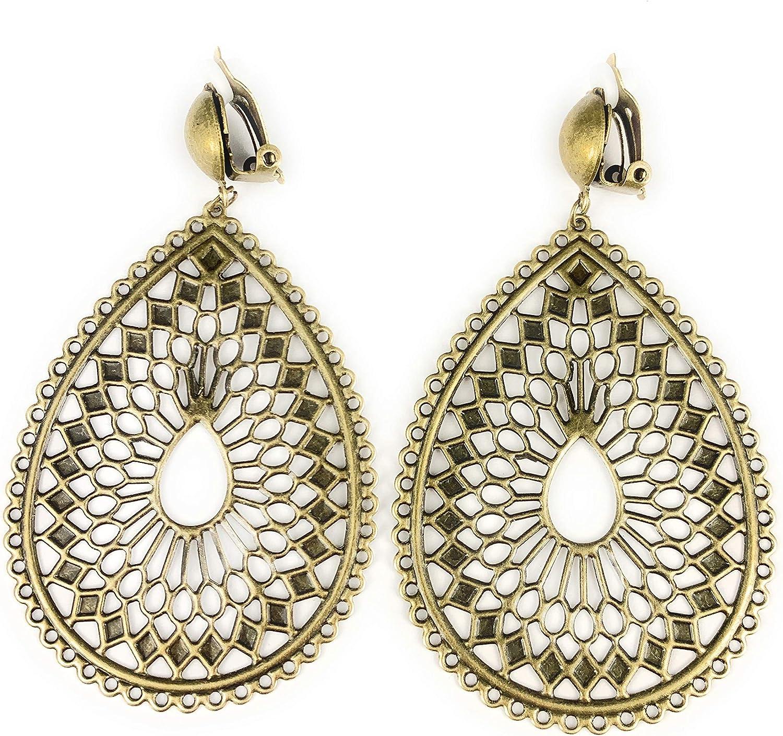 Clip on Earrings Bronze Filigree Teardrop Clips Non-Pierced Earrings 3 1/4 inches Long