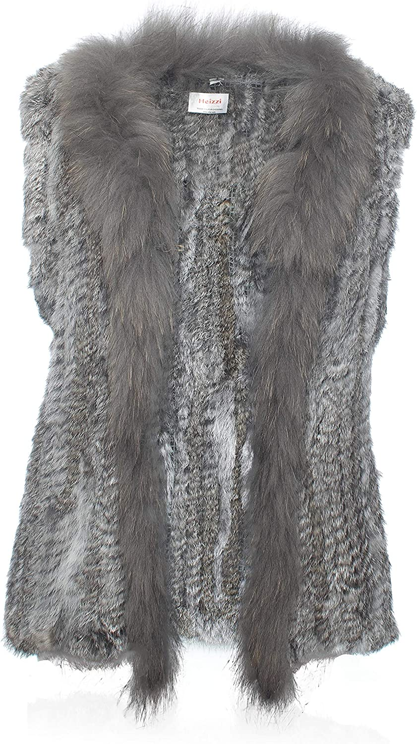 HEIZZI Rabbit Fur Vest with Collar Soft Financial sales sale Raccoon Knitted Sale price