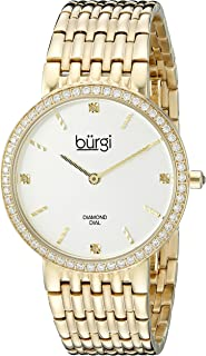 Women's BUR138YG Diamond & Crystal Accented Yellow Gold Bracelet Watch
