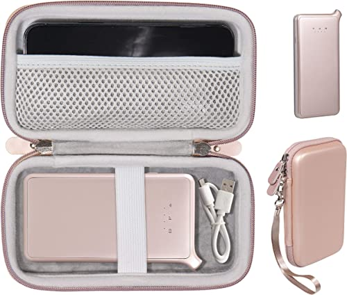new arrival Rose Gold Protective Carrying Case for DULLA M50000 Portable Power Bank 12000mAh External Battery Charger popular by WGear, Detachable Wrist Straps, Elastics Strap to sale Secure Device, Mesh Cable Pocket Inside outlet sale