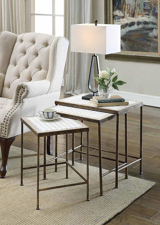 Outlet sale feature 4D Quantity limited Concepts 3 Piece Nesting Tables Travertine