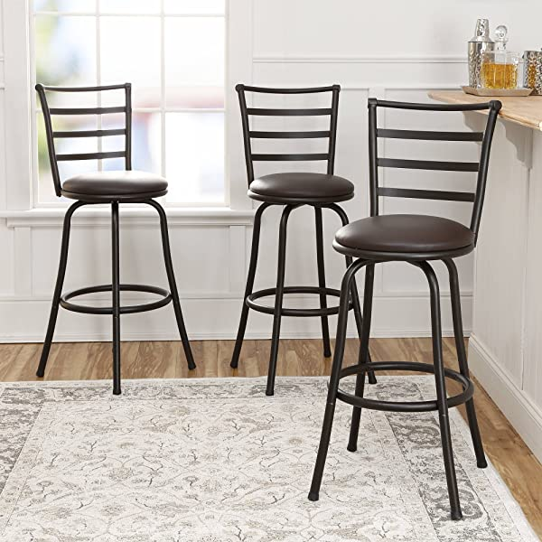 3 Piece Ladder Back Ajustable Height Sturdy Metal Frame Swivel Barstool Comfortable Seat Cushions Hammered Bronze Finish