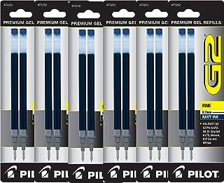 Value Pack of 6 - Pilot G2 Gel Ink Refills for Rolling Ball Pen, Fine Point, Navy Blue (77252)