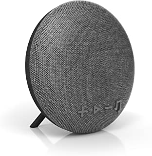 tzumi Deco Series Speaker- Small Wireless Bluetooth Fabric Speaker - Add Powerful Sound and Ambiance to Any Room - Grey
