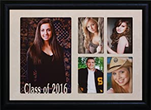 7x10 CLASS OF 2016 5-Opening Collage Portrait Picture Frame ~ Laser Cut Cream Marble Matboard with Hardwood Frame ~ Wonderful Graduation Gift Idea! (BLACK)