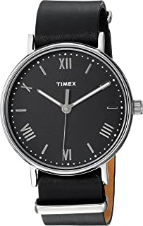 Timex Men's TW2R28600 Southview 41mm Black/Silver-Tone Leather Strap Watch
