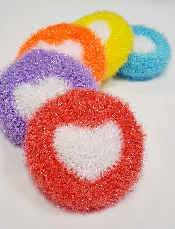 100% Handmade Dish Scrubber Crochet Ranking TOP19 Weekly update Round Dishwash Design Heart