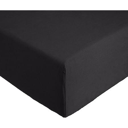 Amazon Basics 'Everyday' Drap-housse en coton, Anthracite 160 x 200 x 30 cm