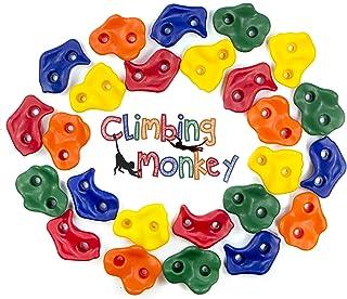 Climbing Monkey Climbing Holds -- 25 Rock Climbing Holds - Premium HD Mounting Hardware Included -- Climbing Rocks for DIY Rock Climbing Wall