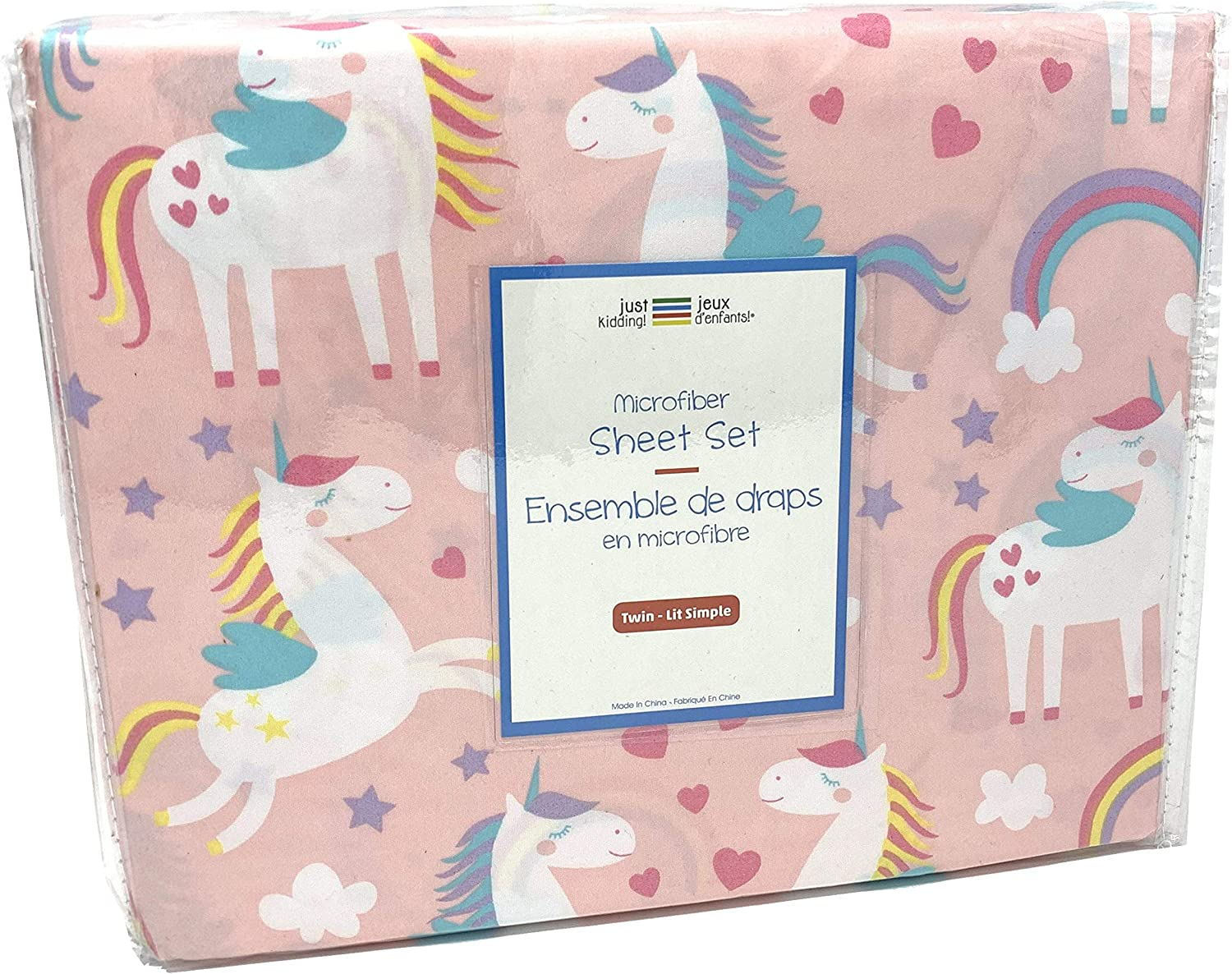 Jeux D'enfants  Soft Microfiber Rainbow Pink White Unicorn Sheet Set with Stars Hearts and Wings - Pink Sheets for Girls Unicorn Print (Twin)
