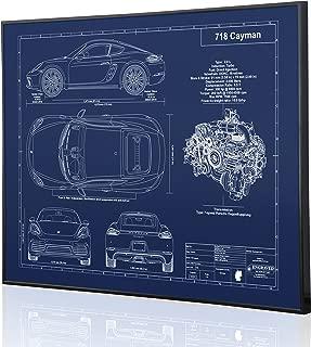 Porsche 718 Cayman Blueprint Artwork-Laser Marked & Personalized-The Perfect Porsche Gifts