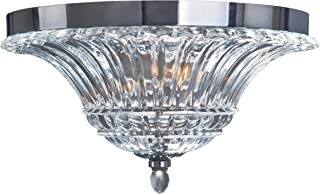Elegant Designs FM1002-CHR Ceiling Glacier Petal 2 Light Glass Flushmount, Chrome