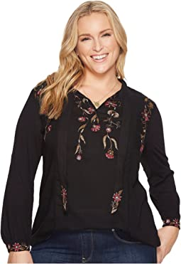 Lucky Brand Plus Size Tie Neck Top