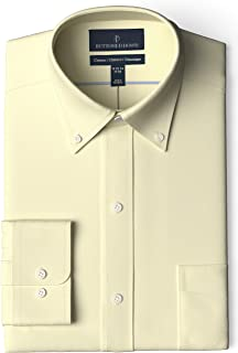 "Buttoned Down Amazon Brand Men's Classic Fit Button-Collar Pinpoint Non-Iron Dress Shirt, Light Yellow, 14.5"" Neck 34"" Sleeve"