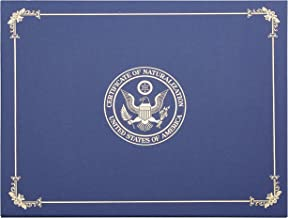 Certificate of Naturalization Holder - Certificate Holder with Gold Foil Imprint, United States Citizenship Letter-Sized Document Cover, 4 Corner Ribbons, Navy Blue, 11.5 x 9 Inches