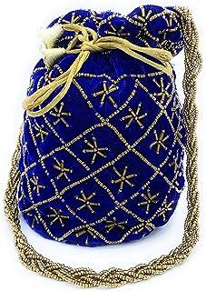 ADORA FASHION INDIAN HANDMADE POTLI/POUCH/CLUTCH ROUND SHAPE BAG FOR WOMEN ADORA ACI 106 BLUE
