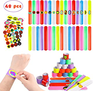 PANTIDE DIY Superhero Slap Bracelets Party Favor with Superhero Stickers for Kids Boys&Girls Birthday Party Supplies Birthday Gifts Class Prizes-48 Pack
