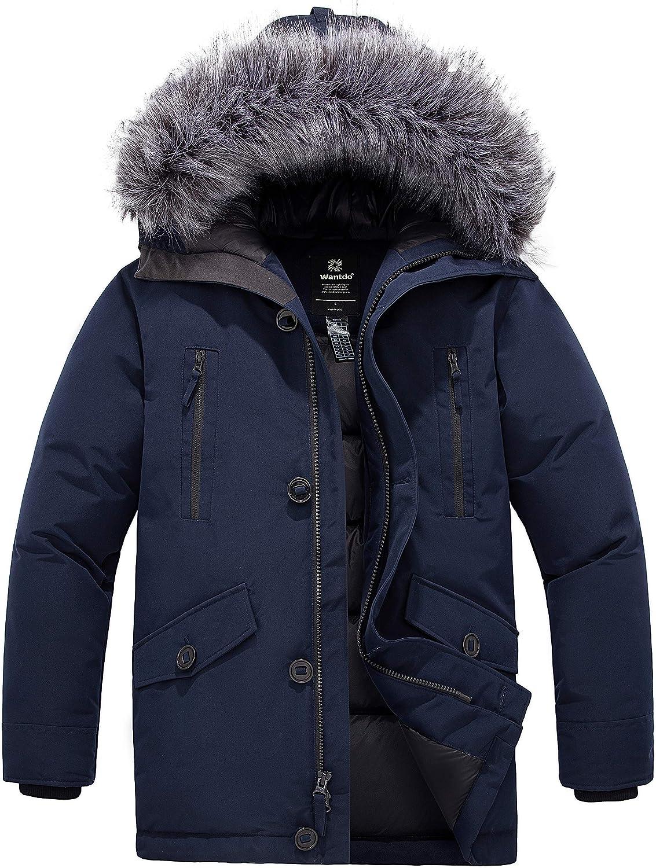 Wantdo Men's Down Jacket Thicken Parka Coat Winter Warm Puffer Jacket with Fur Hood