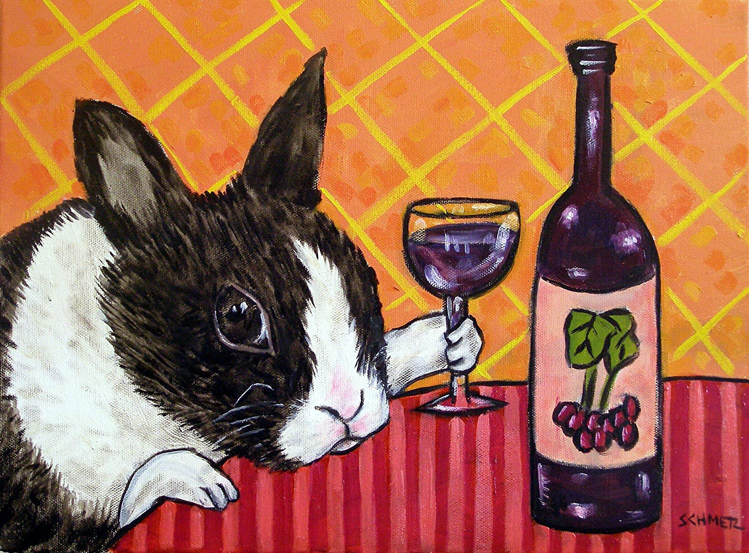Bunny New color at Super sale period limited the Wine Bar Signed Print Rabbit art