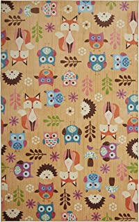 Mohawk Home Prismatic Forest Animal Toss, Owl, Porcupine, and Fox Printed Contemporary Kids Area Rug, 5'x8',